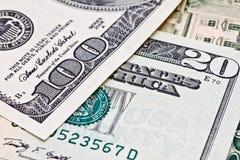 Изображение крупного плана примечаний доллара США Стоковая Фотография RF