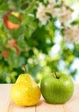 Изображение крупного плана груши и яблока Стоковое Изображение