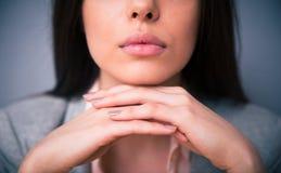 Изображение крупного плана губ женщины Стоковые Изображения RF