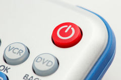 Изображение крупного плана красной кнопки силы на дистанционном управлении Стоковые Фотографии RF