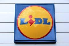 Изображение логотипа супермаркета LIDL - Melle/Германии - 08/06/2017 Стоковые Изображения