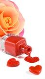 изображение маникюра, декоративных сердец и цветка подняло Стоковые Изображения