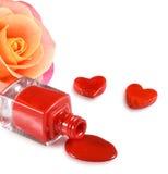 изображение маникюра, декоративных сердец и цветка подняло Стоковые Фотографии RF