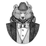 Изображение медведя гризли шляпы шляпы tirol немца баварской национальной большой одичалой нарисованное рукой для татуировки, фут Стоковая Фотография