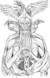 Изображение мертвого короля с птицами Стоковые Фото