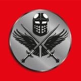 Изображение медалей с крылами птицы, 2 пересекло шпаги и шлем сражения также вектор иллюстрации притяжки corel Стоковое Изображение