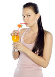 Изображение милой женщины с коктеилом Стоковое Фото