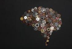 Изображение мозга сделанное из маленьких cogwheels Стоковое Изображение RF