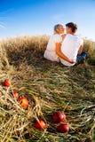 Изображение молодого человека и женщины с яблоками на пшеничном поле Стоковое Изображение RF
