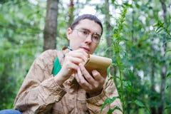 Изображение мужского биолога в стеклах Стоковое Изображение RF