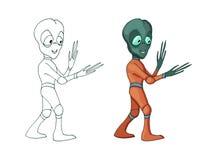 Изображение мультфильма вектора твари характера смешного чужеземца положительной изолировало иллюстрация вектора