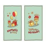 Изображение открытки подарочных коробок, торта с свечами, воздушных шаров и желаний литерности Стоковые Изображения RF