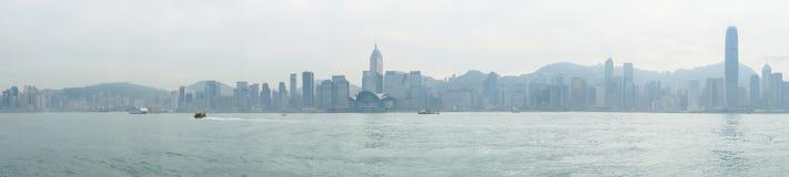 изображение панорамы залива в утреннем времени, Гонконга Виктории, Китая Стоковое Фото