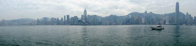 изображение панорамы залива в утреннем времени, Гонконга Виктории, Китая Стоковые Фото