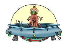 Изображение первоначально handrawn цифровое дурацкого чужеземца в UFO Стоковое фото RF