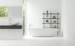 Изображение перевода стиля 3d современной белой ванной комнаты внутреннее минимальное Стоковое Изображение RF
