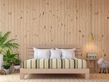 Изображение перевода 3d современной винтажной спальни внутреннее Стоковые Изображения RF