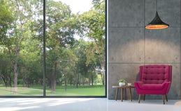 Изображение перевода живущей комнаты 3d стиля просторной квартиры Стоковая Фотография RF