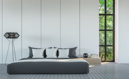 Изображение перевода стиля 3D современной белой спальни минимальное Стоковые Фотографии RF