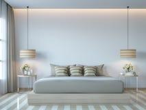 Изображение перевода стиля 3D современной белой спальни минимальное Стоковые Изображения