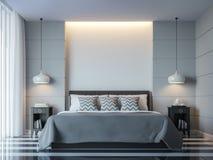 Изображение перевода стиля 3D современной белой спальни минимальное Стоковое Фото