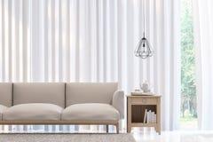 Изображение перевода стиля 3D современной белой спальни минимальное Стоковые Изображения RF