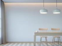 Изображение перевода стиля 3D современной белой столовой минимальное Стоковые Изображения RF