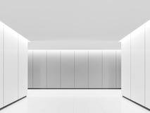 Изображение перевода 3d пустого космоса белой комнаты современного внутреннее Стоковая Фотография RF