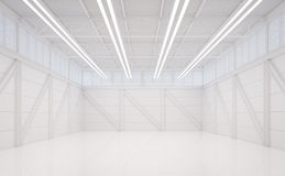 Изображение перевода 3d современного белого склада внутреннее Стоковая Фотография
