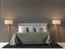 Изображение перевода 3d современной современной спальни внутреннее Стоковая Фотография