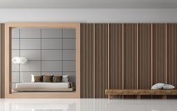 Изображение перевода 3d современной спальни внутреннее Стоковое фото RF