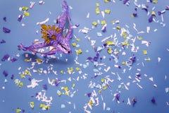 Изображение плоского положения воздушное красивой фиолетовой серебряной маски масленицы для carnaval предпосылки праздника Стоковое Изображение RF