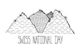 Изображение поздравительной открытки на национальный праздник Швейцарии Стоковое фото RF