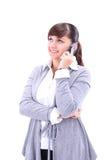 Изображение портрета женщины дела говоря на телефоне на whi Стоковые Фотографии RF