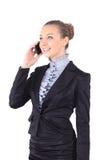 Изображение портрета женщины дела говоря на телефоне на whi Стоковое Изображение RF