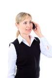 Изображение портрета женщины дела говоря на телефоне Стоковое Изображение RF
