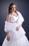Изображение молодой невесты на серой предпосылке Стоковое Фото