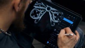 Изображение притяжки Гай на планшете Дизайнерские работы на графическом планшете на ПК иллюстрация вектора
