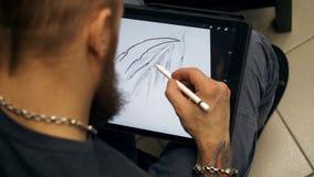 Изображение притяжки Гай на планшете Дизайнерские работы на графическом планшете на ПК бесплатная иллюстрация