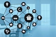 Изображение произведенное цифров различных значков в офисе Стоковые Изображения RF