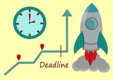 Изображение простого вектора Ракеты, настенных часов, диаграммы и простого текста Стоковое Изображение