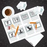 Изображение процесса Storyboarding иллюстрация штока