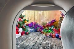 изображение плоских окна и орнаментов рождества Стоковое Фото