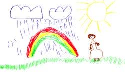 Изображение радуги ребенка яркой красочной отметки handdrawn Стоковые Изображения