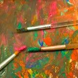 Изображение различных красок и крупного плана 3 щеток Стоковое Изображение RF