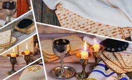 Изображение Саббата matzah, кандели хлеба на деревянном столе Стоковое Изображение RF
