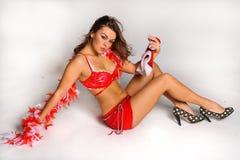 Изображение сексуальной девушки хелпера Santas большое для создавать открытки приветствию праздника Стоковые Фотографии RF