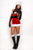 Изображение сексуальной девушки хелпера Santas большое для создавать открытки приветствию праздника Стоковая Фотография