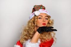 Изображение сексуальной девушки хелпера Santas большое для создавать открытки приветствию праздника Стоковые Изображения RF