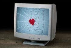 Изображение сети с красным сердцем в центре на scre компьютера стоковое фото